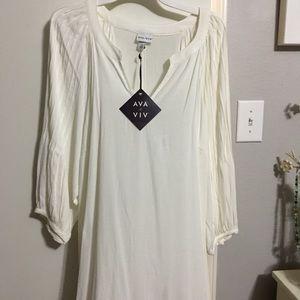 Cream pleated plus blouse